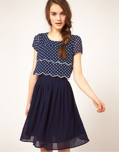 Dahlia Double Layer Spot Dress With Pleated Skirt