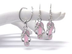 Checkout this amazing deal New Silver Plated Flip Flop Necklace and Earring Pink,$9.95