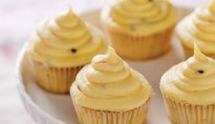Vanilla cupcakes with granadilla and white chocolate ganache Vanilla Cupcakes, Mini Cupcakes, Baking Recipes, Cake Recipes, Cupcake Cream, White Chocolate Ganache, South African Recipes, Recipes From Heaven, What To Cook