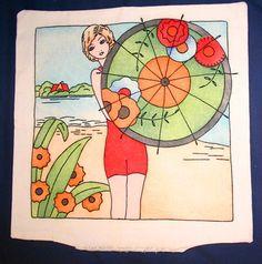 Flapper Girl Beach Umbrella Vintage Vogart Embroidery Pillow | eBay