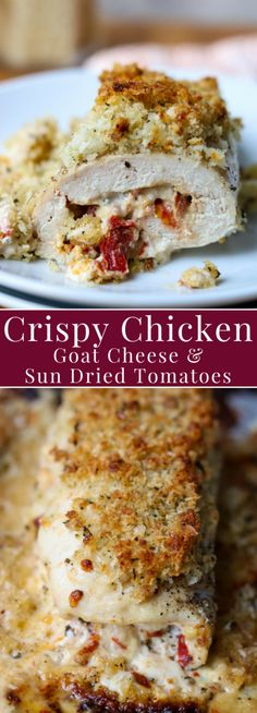 Crispy Chicken with Goat Cheese & Sun Dried Tomatoes is a delicious baked chicken stiffed with goat cheese, mayo, basil, garlic, and sun dried tomatoes and then topped with a crispy panko topping. Perfect for weeknights, weekends, entertaining, or just when you need a big food hug  momdinner.net