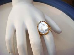 Vintage Adjustable Gold Toned Ring with by PaganCellarJewelry, $9.99