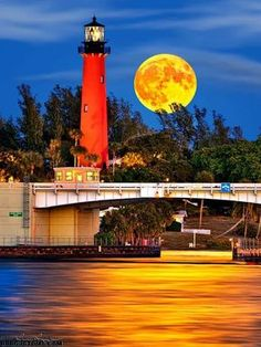 Lighthouse in the moonlight.