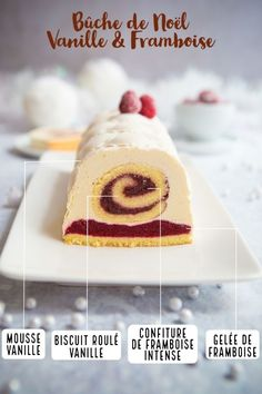 Vanilla and raspberry Yule Log - Recipe - Delicacies - Dessert Recipes Dessert Party, Christmas Cooking, Christmas Desserts, Christmas Recipes, Best Dessert Recipes, Cake Recipes, Fun Recipes, Raspberry Recipes, Food Log