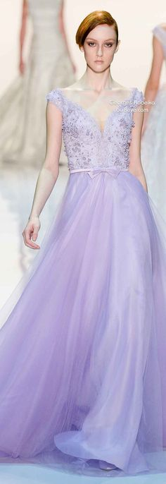 Georges Hobeika Spring 2014 | lavender | flower petal | soft pastels with delicate lines | beading |  embroidery | 3D appliques