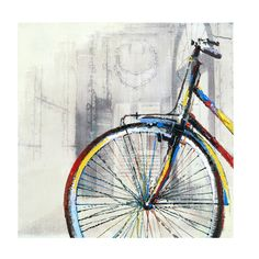 "This oil on canvas painting titled ""Freedom I"" adds exciting modern art to your home. The square, unframed canvas features a muted abstract background with a colorful bicycle in the foreground."