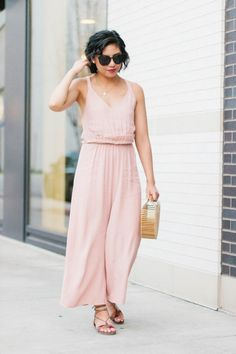 The best thing to wear during late summer. Lace-Up Sandals, blush jumpsuit, late summer fashion.