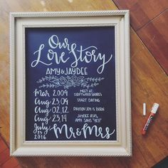 Our Love Story timeline chalkboard!