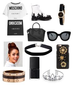 """Gothic princess♡"" by katherineahumada ❤ liked on Polyvore featuring Moschino, Dr. Martens, Givenchy, NARS Cosmetics, Marc by Marc Jacobs, CÉLINE, Dolce&Gabbana, Miss Selfridge, Crystal Allure and Cartier"