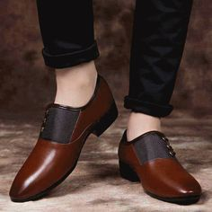 Men's leather lace up from side design, Point toe, work, office, business occasions. Brown Formal Shoes, Brown Dress Shoes, Formal Shoes For Men, Leather Dress Shoes, Suede Shoes, Christian Louboutin Loafers, Gentleman Shoes, Mens Boots Fashion, Loafers Men