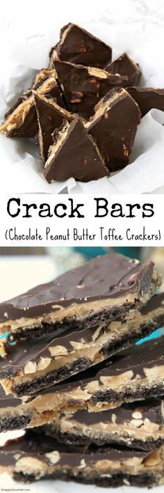 Crack Bars (aka Chocolate Peanut Butter Toffee Crackers), the best easy dessert! Great for Christmas or anytime! Candy Recipes, Sweet Recipes, Dessert Recipes, Bar Recipes, Easy Desserts, Delicious Desserts, Yummy Food, Fun Food, Crack Bars Recipe