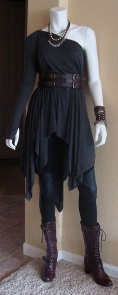 Daily Look: CAbi Fall '13 Ricky Legging and Multi Topper with vintage Corset Belt and my favorite laced boots.