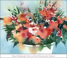 Shari Blaukopf: Wet in Wet Watercolor Demo Watercolor Journal, Watercolor Images, Pen And Watercolor, Watercolour Painting, Watercolor Flowers, Watercolors, Paint Flowers, Painting Tips, Gouache Tutorial