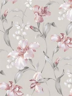 Hanalei Pink and Grey Floral Wallpaper, Pink And Grey Wallpaper, Go Wallpaper, Flower Phone Wallpaper, Textured Wallpaper, Pattern Wallpaper, Wallpaper Backgrounds, Floral Print Wallpaper, Floral Wallpapers, Classic Wallpaper