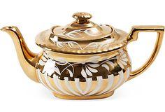 Gold Lusterware Tea Pot, C. 1920 Chocolate Pots, Chocolate Coffee, Teapots Unique, Teapots And Cups, Tea Caddy, Tea Art, Tea Service, Coffee Set, Tea Accessories