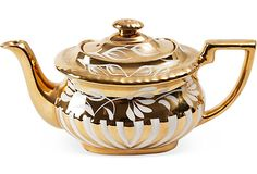Gold Lusterware Tea Pot, C. 1920 #teapot