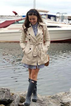 Blue gingham shirt dress + khaki trench coat + navy Hunter wellies http://www.allthingsvogue.com