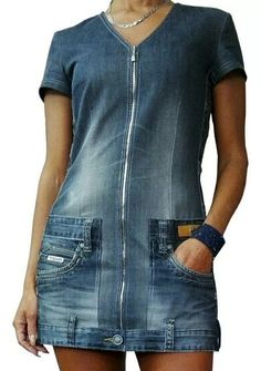 Remake work jeans pant became short dress # - Amy Starcourt Casual Dress Outfits, Denim Outfit, Sewing Clothes, Custom Clothes, Refaçonner Jean, Denim Fashion, Fashion Outfits, Jeans Rock, Work Jeans
