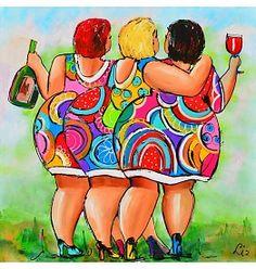 RUBOS Diamond Mosaic Colorful Three Fat Women Diamond Embroidery Diy Full Painting Cross Stitch Pattern Sale Bead Home Decor Diamond Painting, Funny Paintings, Curvy Art, Painting People, Plus Size Art, Painting, Art Girl, Cross Paintings, Happy Paintings