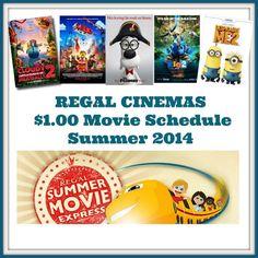 Regal Cinemas $1.00 Summer Movie Express Schedule 2014