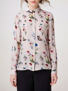 #AdoreWe #StyleWe ADOREALIA Multicolor Butterfly  Printed Long Sleeve Shirt Collar Blouse - AdoreWe.com