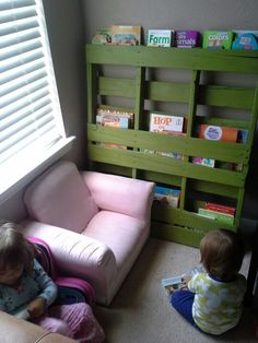 I finally finished my refurbished pallet bookshelf for the girls! :)