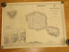 Original British Admiralty Sea Chart - South Pacific Society Islands Tahita And Moorea (Originally Published at the Admiralty 21st October 1895) Corrections to 1974 Circa 1974  A highly prized and collectable superb Gift for a Yachtsman  A fantastic totally original sea chart (not modern reprint) that would look superb, framed and hung in a contemporary apartment, house in any classical study. This chart was acquired from an antique sale in western England with many others from around the…