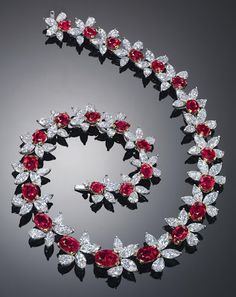 "A Burmese, no-heat, ""pigeon's blood"" ruby and diamond necklace by James W. Currens. The necklace has an auction estimate of $3,500,000-$5,000,0000."