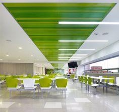Productos Interiores Hunter Douglas, Food Court Design, Cafeteria Design, Catering Design, Hall Flooring, Home Ceiling, Hall Design, Office Interior Design, Commercial Design