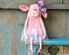 Primitive Pig-Primitive Rag Doll-Ballerina Ornaments-Primitive Decor-Valentine's Gift-Ballerina Doll-Primitive Valentine-Ballet Doll
