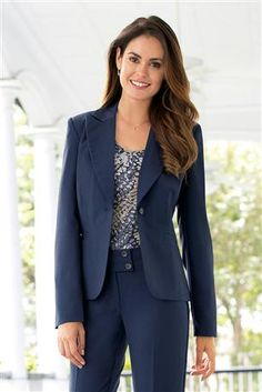"""Item #: 11095 Chadwicks Signature!  Classic American Blazer: An iconic piece that no closet should be without! This fully lined single-breasted jacket is made in a seasonless, mid-weight fabric that feels just right all year 'round.  One-button blazer; notch collar Besom pockets Princess seams for shape Polyester/rayon; polyester lining Dry clean Imported 23"""" long"""