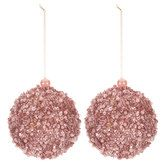 Rose Gold Beaded Ball Ornaments