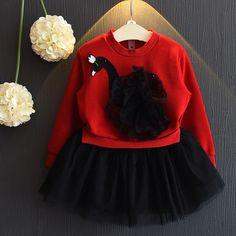Çocuk giyim kız elbise sonbahar moda güzel kuğu mücadele iplik ekleme tutu elbise güzel kız elbise prenses elbiseler