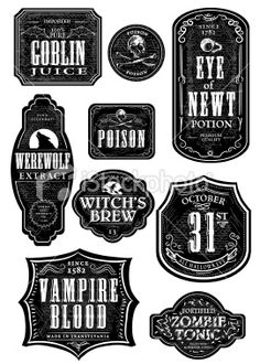 Vector illustration of a set of odd and funny Hallowe'en themed bottle labels. Print and use as wine labels, stickers or package labels or whatever you desire. Labels on white background for easy. Halloween Apothecary Labels, Halloween Bottle Labels, Halloween Potions, Apothecary Jars, Holidays Halloween, Halloween Crafts, Funny Halloween, Halloween House, Diy Halloween Decorations