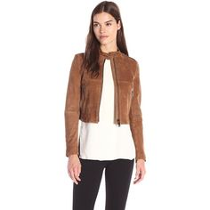 Theory Women's Bavewick S Benna Suede Jacket ($1,250) ❤ liked on Polyvore featuring outerwear, jackets, theory jacket, brown suede jackets, suede jacket, zip front jacket and long sleeve jacket
