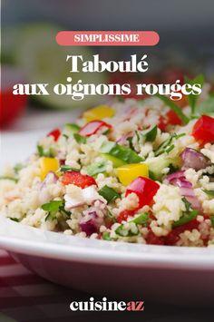 Cette recette de taboulé aux oignons rouges est prête en 15minutes. #recette#cuisine#taboule#salade #oignonrouge Couscous, Grains, Food, Tabbouleh Recipe, Pasta Salad, Chopped Salads, Cucumber, Red, Recipes