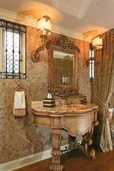 old world powder room