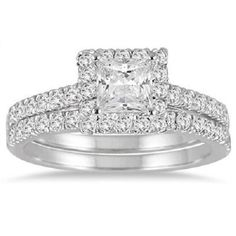 1.25 ctw Princess Brilliant cut Solitaire Engagement Ring 14K solid White Gold #Jewelsbyeanda