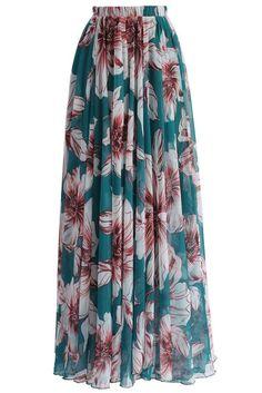 Chic Green Blossoming Floral Print Chiffon Maxi Skirt MB65039-9 – ModeShe.com