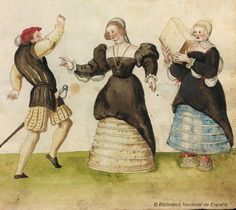 1529 codices de trajes.Spanish farthingales