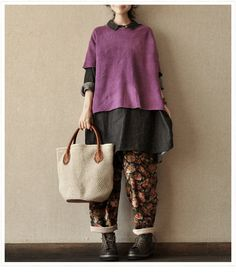 Hey, I found this really awesome Etsy listing at http://www.etsy.com/listing/126674241/purple-loose-short-sleeve-sweater-women