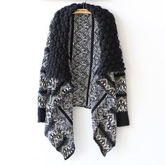 Free Shipping Cardigan Women Fashion irregular casual Sweater Long-sleeve large lapel Knitting Sweaters Cardigans cape outerwear