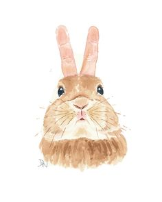 Rabbit Watercolor Bunny Painting Original Art от WaterInMyPaint