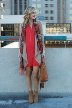 I love a good shift dress! Looks awesome here with the cardigan and scarf.  Love red and camel /tan together!