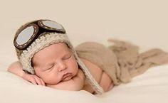 Ücretsiz nakliye, bebek Tığ Pilot Şapka, yenidoğan Aviator Şapka,, Erkek bebek Şapka Beanie, yenidoğan Şapka Fotoğraf Prop % 100% pamuk
