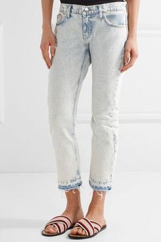 Current/Elliott - The Cropped Mid-rise Straight-leg Jeans - Light denim -