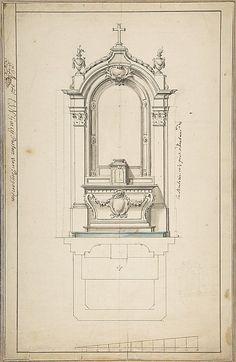 Design for an Altar, with Elevation and Ground Plan Detail Architecture, Neoclassical Architecture, Baroque Architecture, Sacred Architecture, Classic Architecture, Interior Architecture, Gothic Pattern, Classic Building, Gothic Buildings