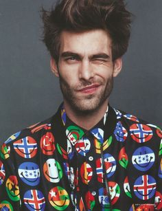 """Great look. Love the print, over-the-top, yet still totally wearable. The credit says, """"Jon Kortajarena by Lawrence Thomas, Seventh Man."""""""
