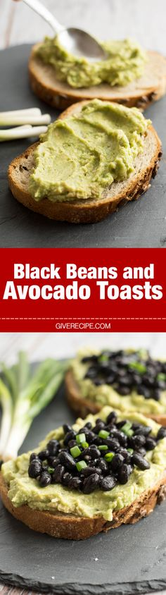 Black Beans and Avocado Toasts. FAST, tasty and nutritious. Perfect on-the-go breakfast! - giverecipe.com