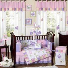 Butterfly Pink & Lavender Bedding by JoJo Designs - Butterfly Baby Crib Bedding - butterfly-pk-lv-9